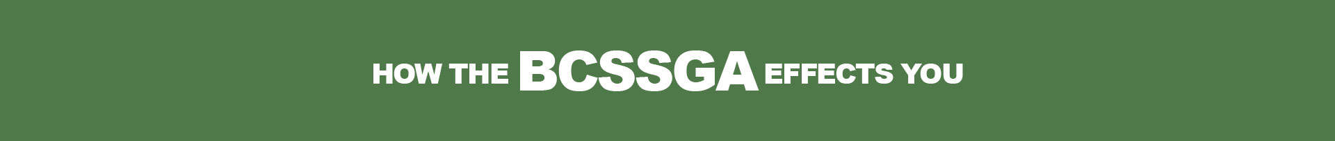 How the BCSSGA affects you