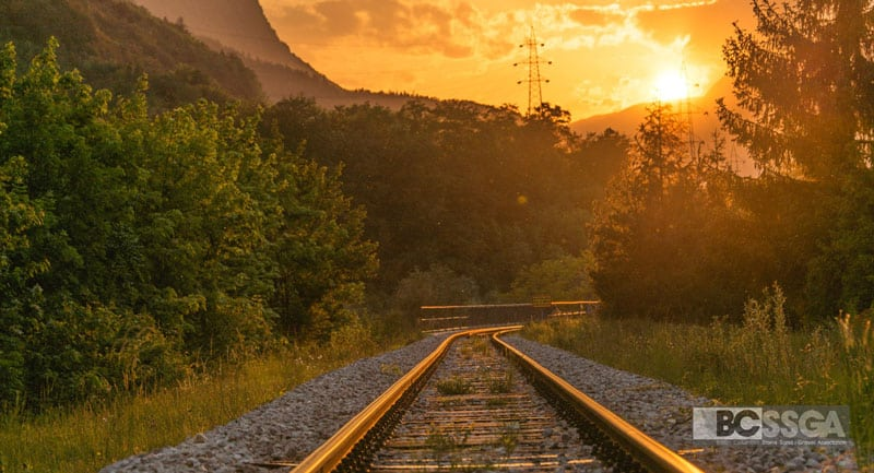 Railway tracks and sunset
